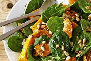 Healthy pumpkin recipes - Roasted pumpkin and spinach salad image